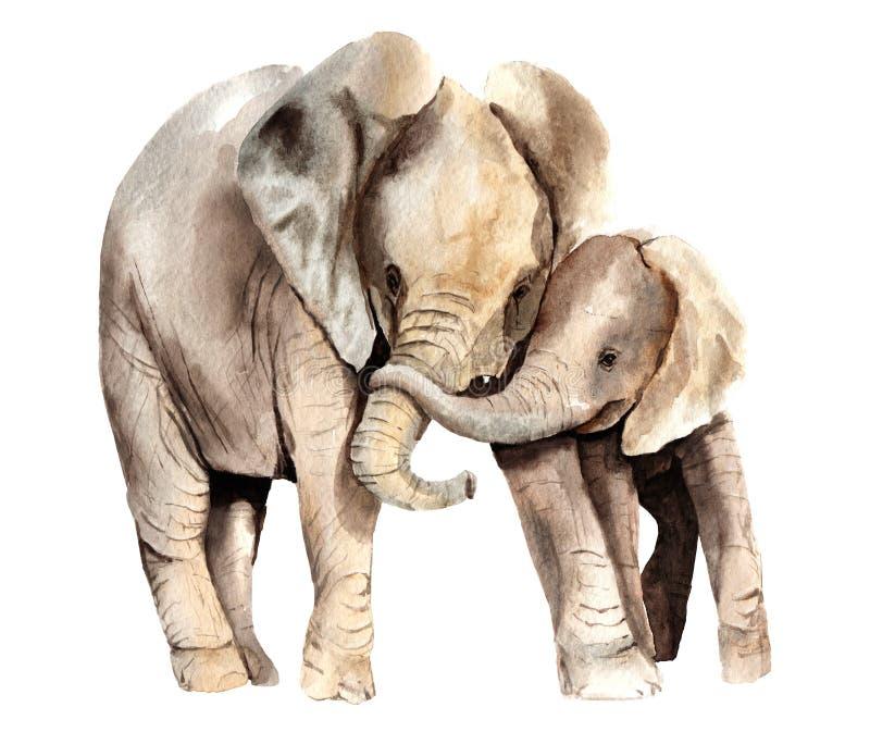 水彩动物-与孩子的非洲大象 库存例证