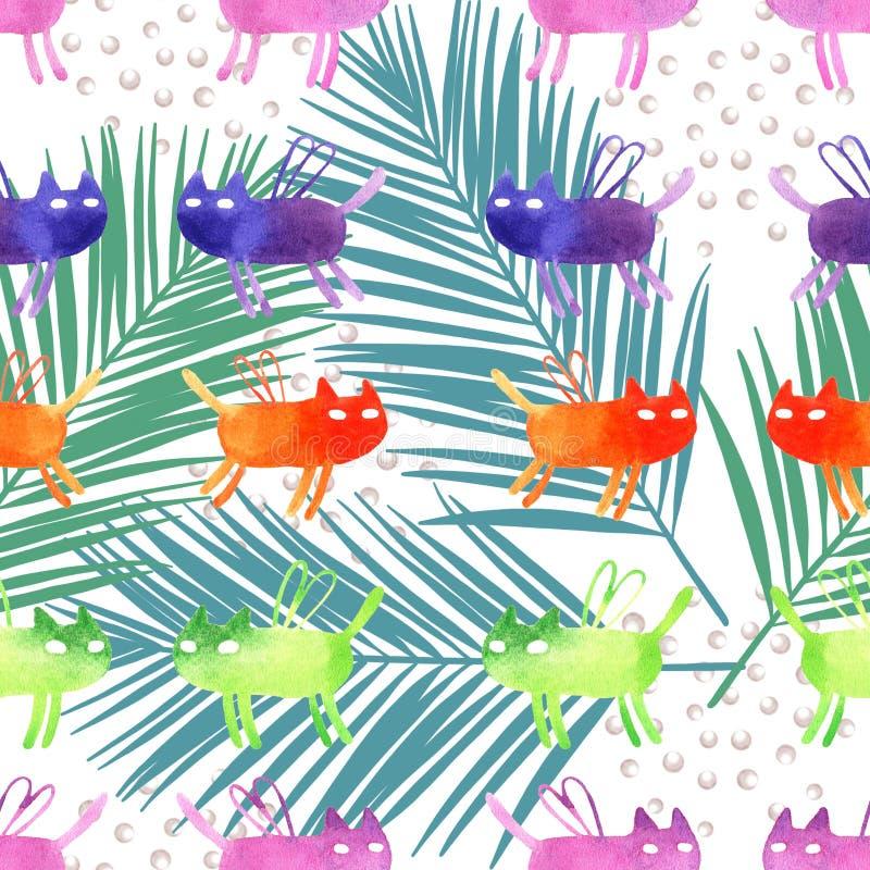 水彩动画片猫例证无缝的样式 皇族释放例证