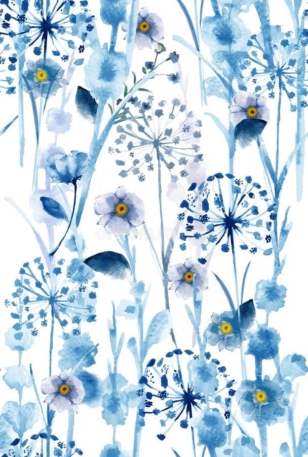 水彩单调在蓝色狂放的花卉样式,精美花 向量例证