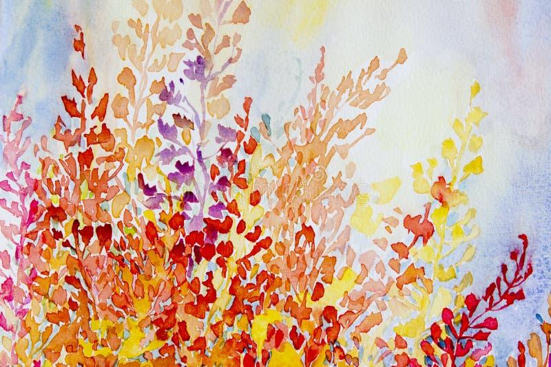 水彩原始的绘画五颜六色的束抽象花 库存例证