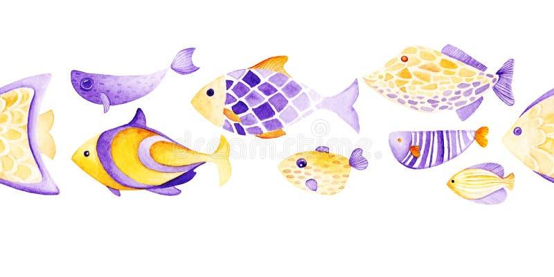 水彩另外鱼样式 紫外和金子 向量例证