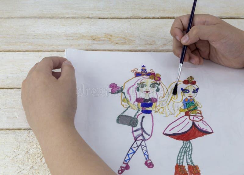 水彩和标志艺术 手画小的两公主明信片 库存照片