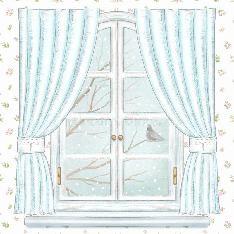 水彩和铅笔窗口与蓝色帷幕和冬天风景在花卉墙纸 库存例证