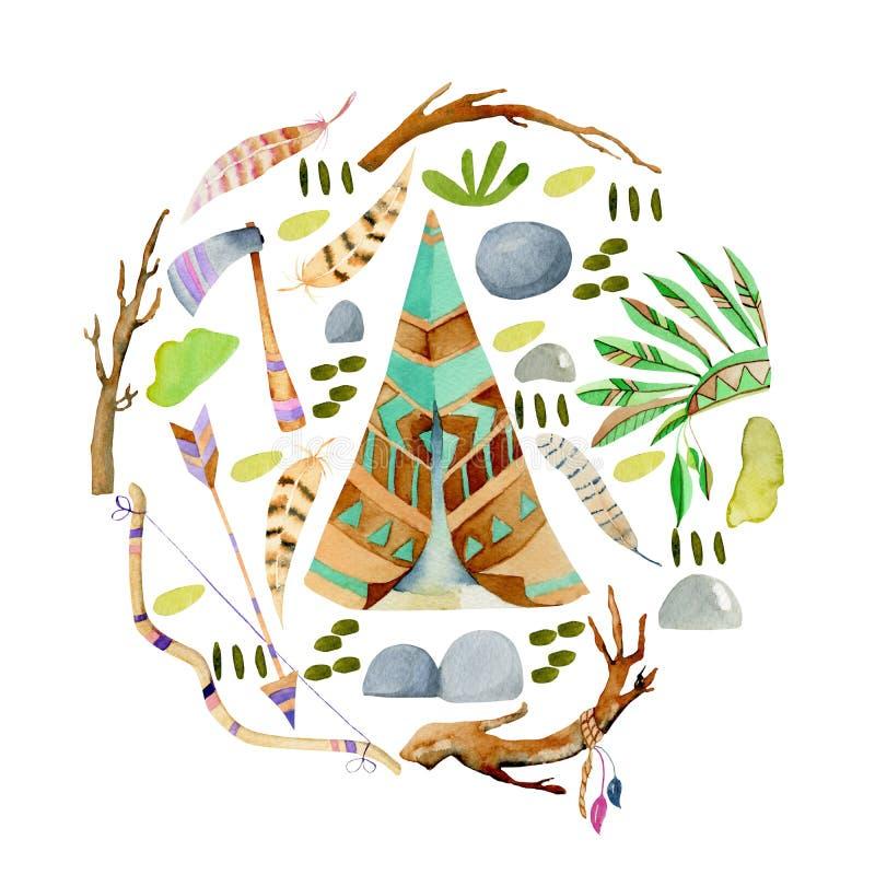 水彩圆锥形小屋和地道美国本地人元素圆的例证 皇族释放例证