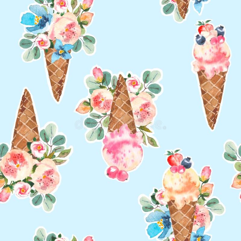 水彩圆锥形的冰淇淋杯和开花的玫瑰, eucaliptus,花花束无缝的样式 皇族释放例证
