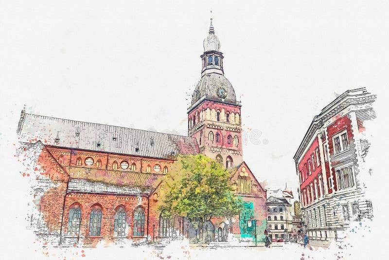 水彩圆顶大教堂的剪影或例证在里加在拉脱维亚 皇族释放例证