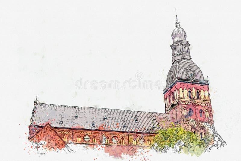 水彩圆顶大教堂的剪影或例证在里加在拉脱维亚 库存例证
