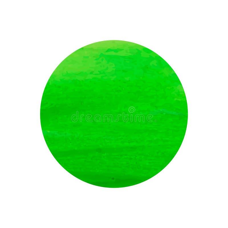 水彩圈子,传染媒介例证,在白色背景隔绝的绿色回合,框架模板,油漆斑点 向量例证