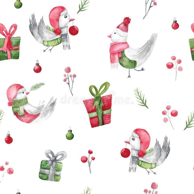 水彩圣诞节与礼物和分支的鸟样式 包裹的土气织品设计 剪报装饰鹿查出的路径红色xmas 库存例证