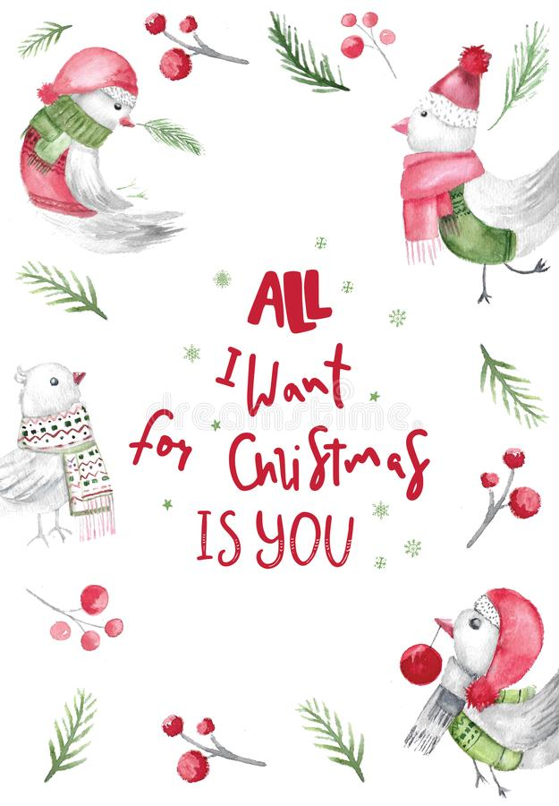 水彩圣诞节与行情的鸟卡片 包裹和墙壁的土气织品设计 剪报装饰鹿查出的路径红色xmas 向量例证