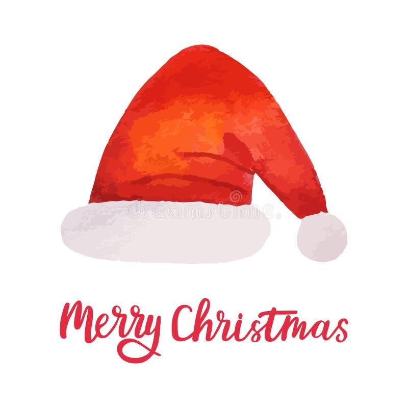 水彩圣诞节圣诞老人帽子 明亮的假日装饰 Xmas设计元素 也corel凹道例证向量 库存例证