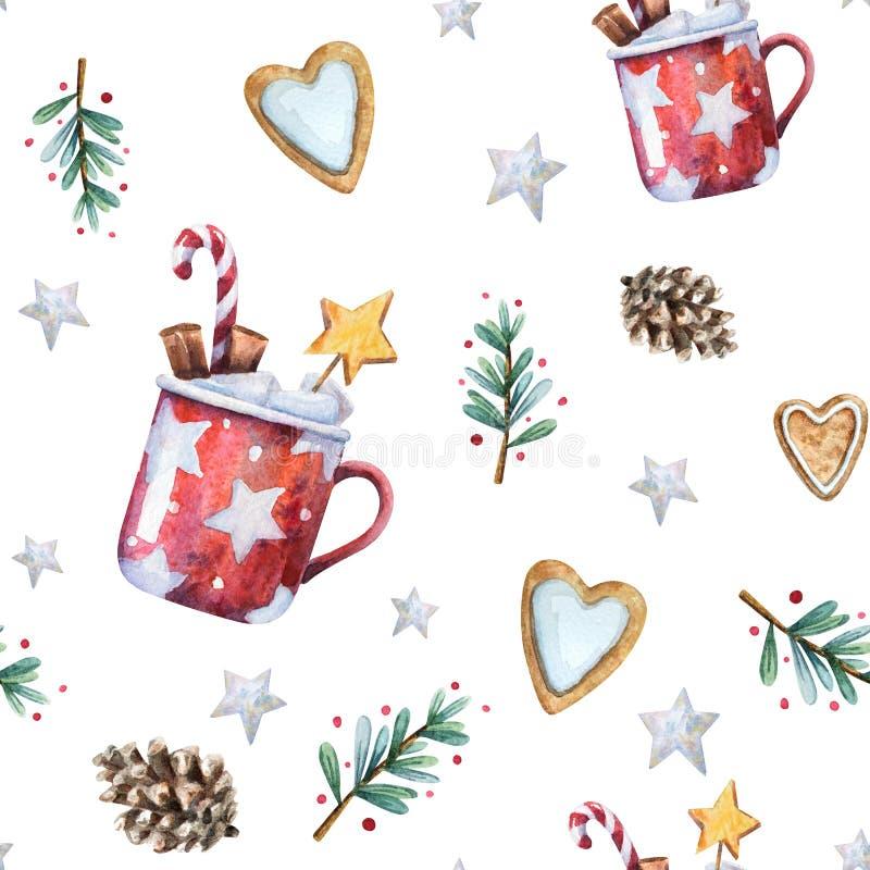 水彩圣诞节无缝的样式 库存例证