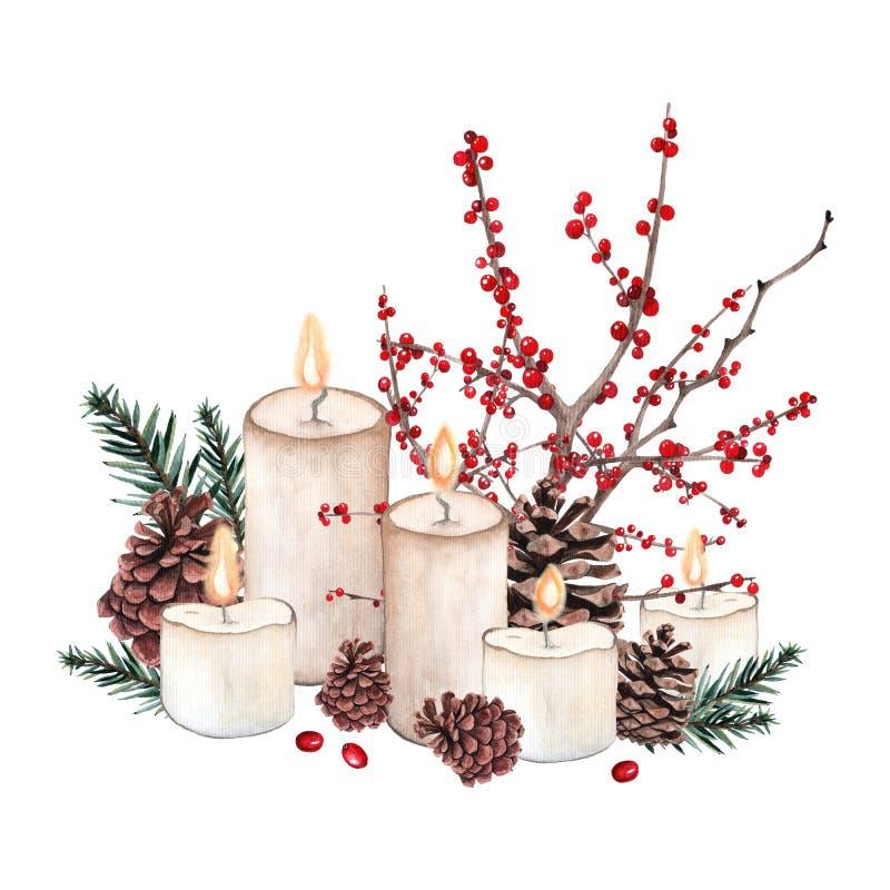 水彩圣诞节构成 库存例证