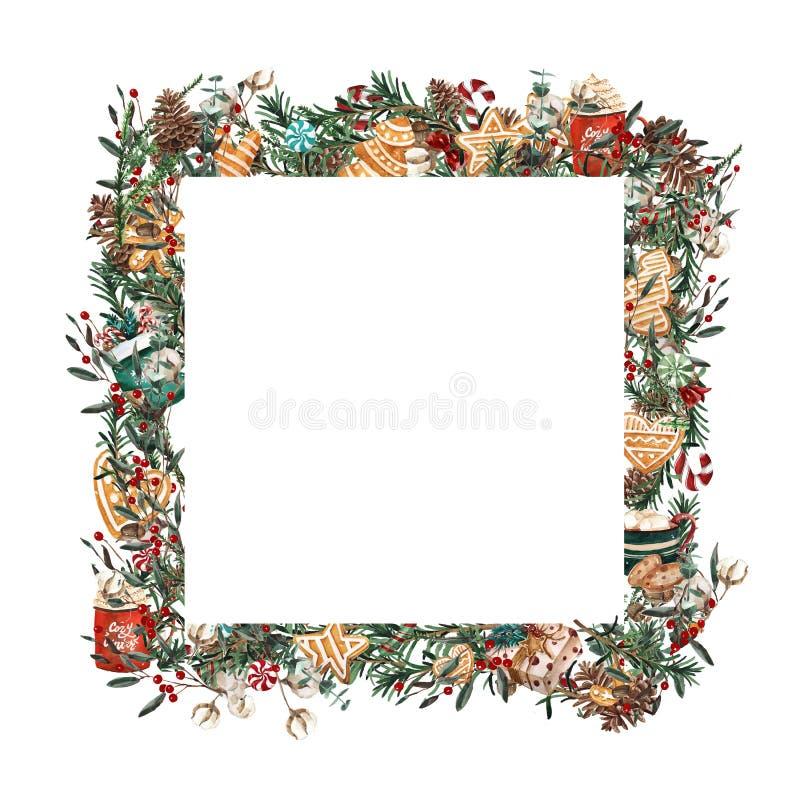 水彩圣诞节框架方形的形状 冷杉分支模板,黄杨木潜叶虫,在白色背景的红色莓果 库存例证