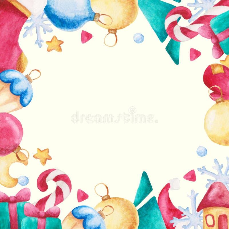水彩圣诞节正方形框架 与弓,糖果,袜子,月亮,星,手套的新年装饰品 对设计、印刷品或者背景 库存例证