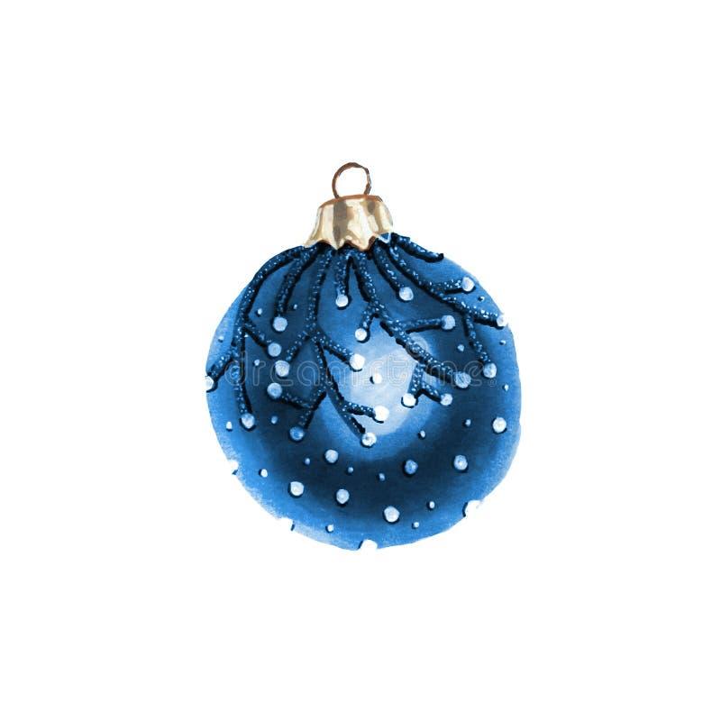水彩圣诞节玻璃球 假日装饰印刷品设计模板 例证百合红色样式葡萄酒 皇族释放例证