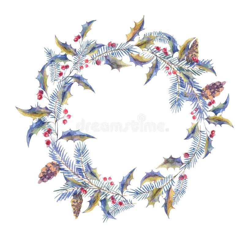 水彩圣诞节花圈用霍莉莓果 库存例证