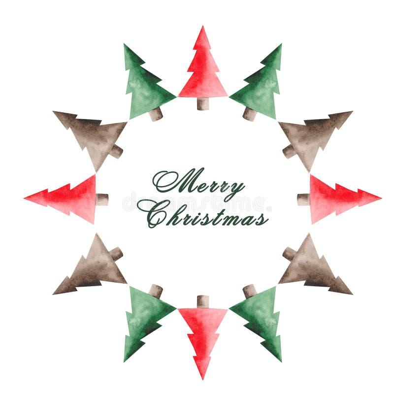 水彩圣诞节设置与红色汽车、冷杉木、球和甜点 向量例证