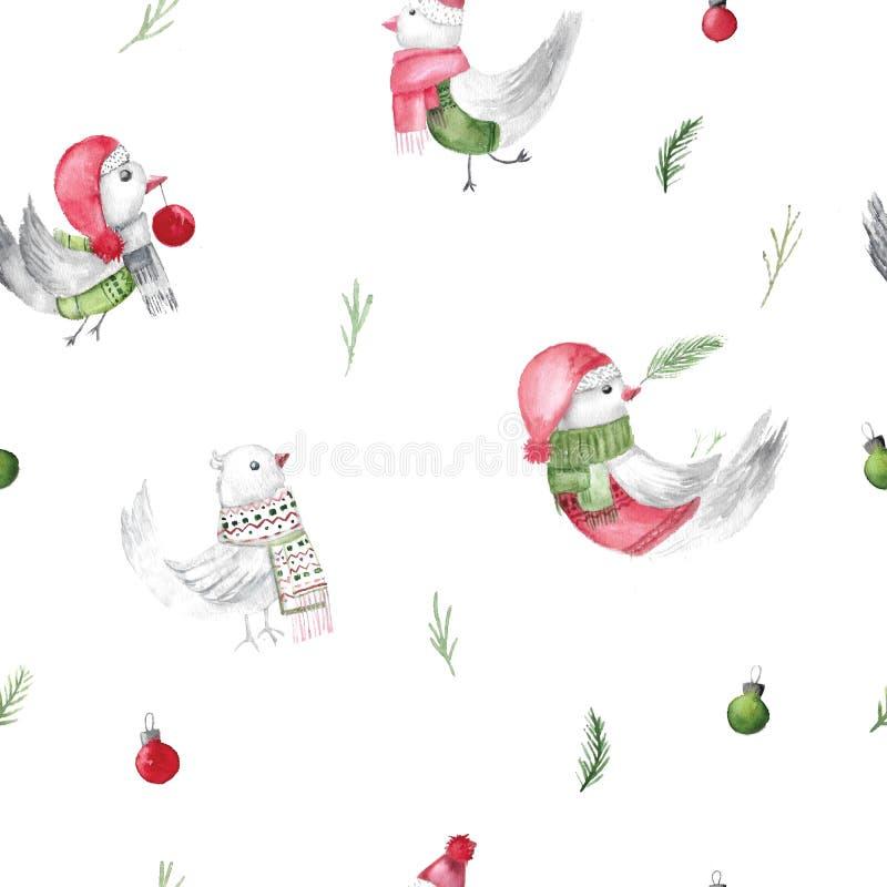 水彩圣诞节鸟样式 包裹的土气织品设计 剪报装饰鹿查出的路径红色xmas 皇族释放例证