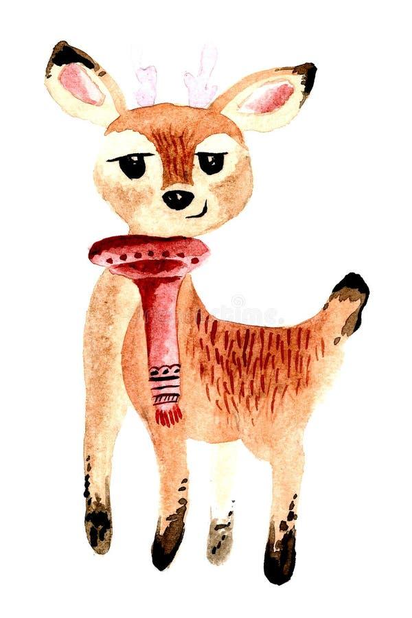 水彩圣诞节鹿 免版税库存照片