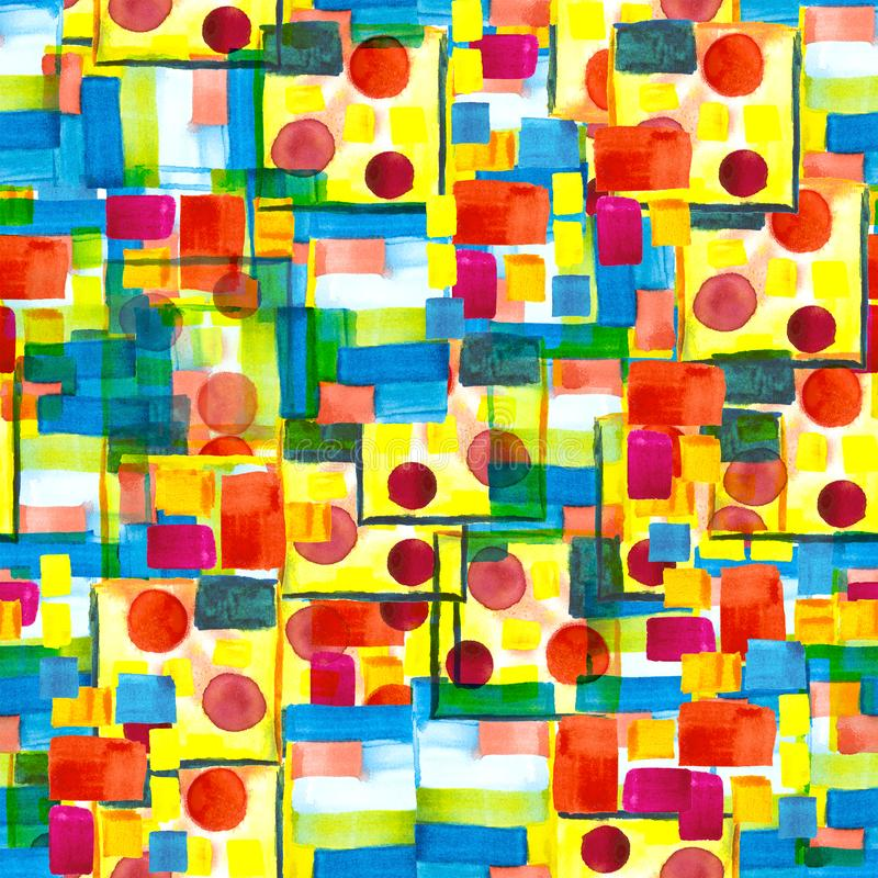 水彩在未来派鲍豪斯建筑学派样式的色的纹理 一个无缝的样式有抽象补缀品背景 红色,蓝色,黄色 库存例证