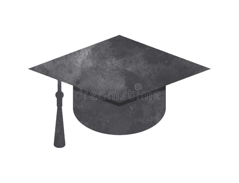 水彩在白色的毕业盖帽 向量例证