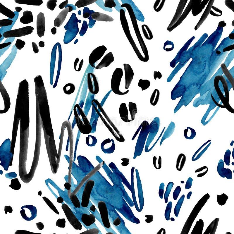 水彩在白色背景的手拉的无缝的黑和蓝色抽象 向量例证