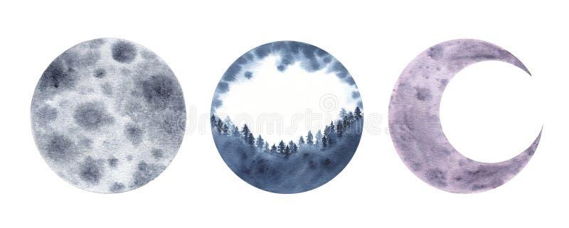 水彩在白色背景隔绝的月亮月牙 向量例证