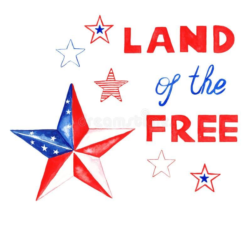 水彩在美国国旗的传统颜色的阵亡将士纪念日bannner 在白色背景的红色,白色和蓝星 免版税库存照片