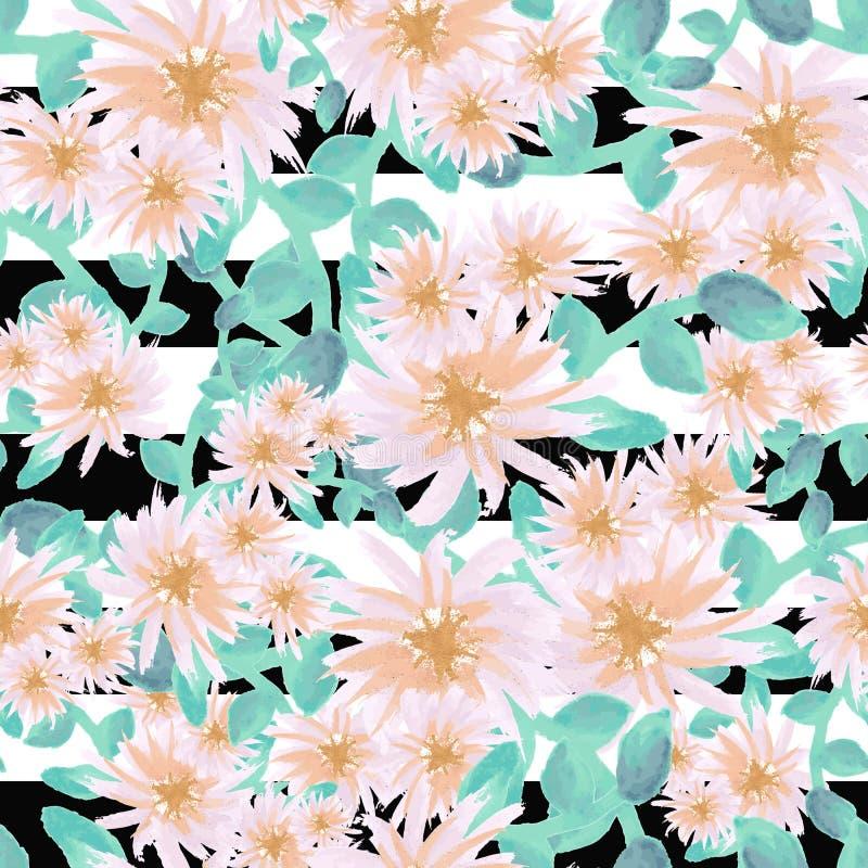 水彩在黑白条纹无缝的样式的疏散翠菊花浅粉红色的金小野鸭 库存例证