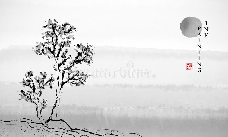 水彩墨水油漆艺术传染媒介纹理树和太阳背景模板例证风景  中国人的翻译 向量例证