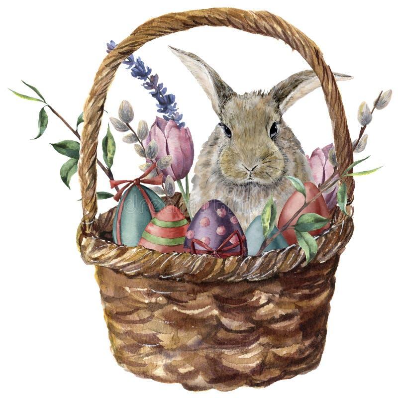 水彩复活节卡片 手画篮子用色的鸡蛋、兔宝宝、淡紫色、郁金香、杨柳和被隔绝的树枝 库存例证