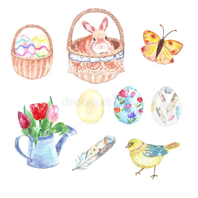 水彩复活节设置与手画标志-在篮子,鸡蛋,鸡,春天季节性花花束的逗人喜爱的兔子 库存图片