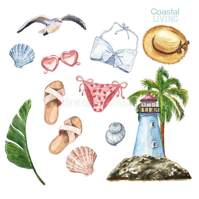 水彩夏令时海滩集合 手拉的妇女泳装,帽子,凉鞋,贝壳,棕榈树,热带植物,灯塔,海鸥 向量例证