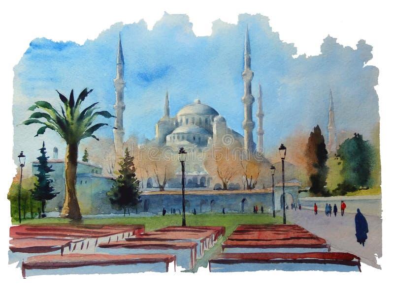 水彩夏天与蓝色清真寺的城市视图 库存例证