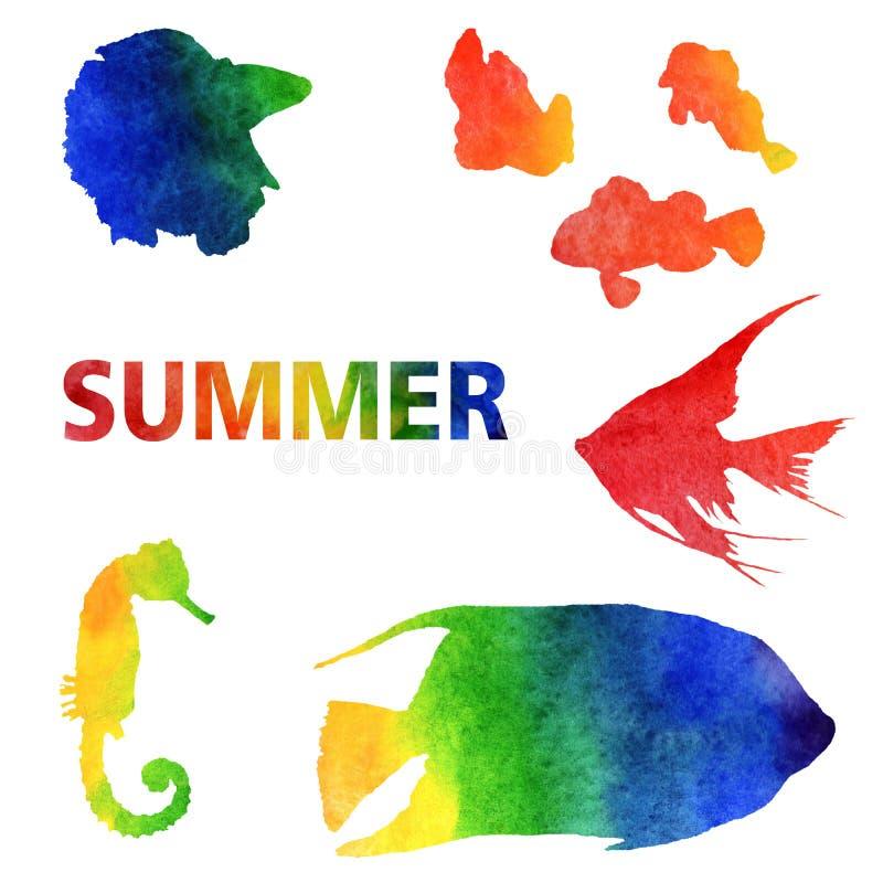 水彩夏天例证 设置手画绿锦鱼 向量例证