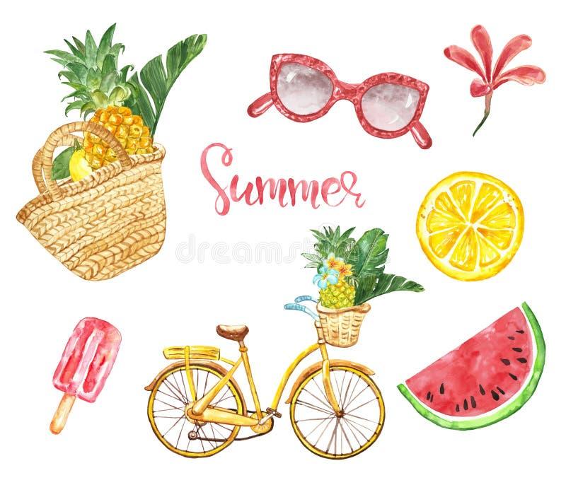水彩夏天元素集 秸杆袋子,菠萝,自行车,莓果冰棍儿,热带叶子,西瓜,柠檬 库存例证