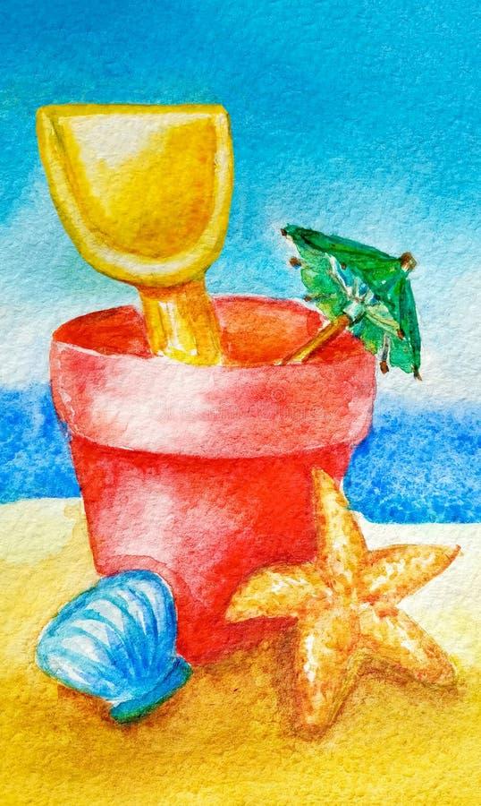 水彩夏天在沙子概念的海滩玩具为假日和假期 桶、锹、伞、壳和海星 皇族释放例证