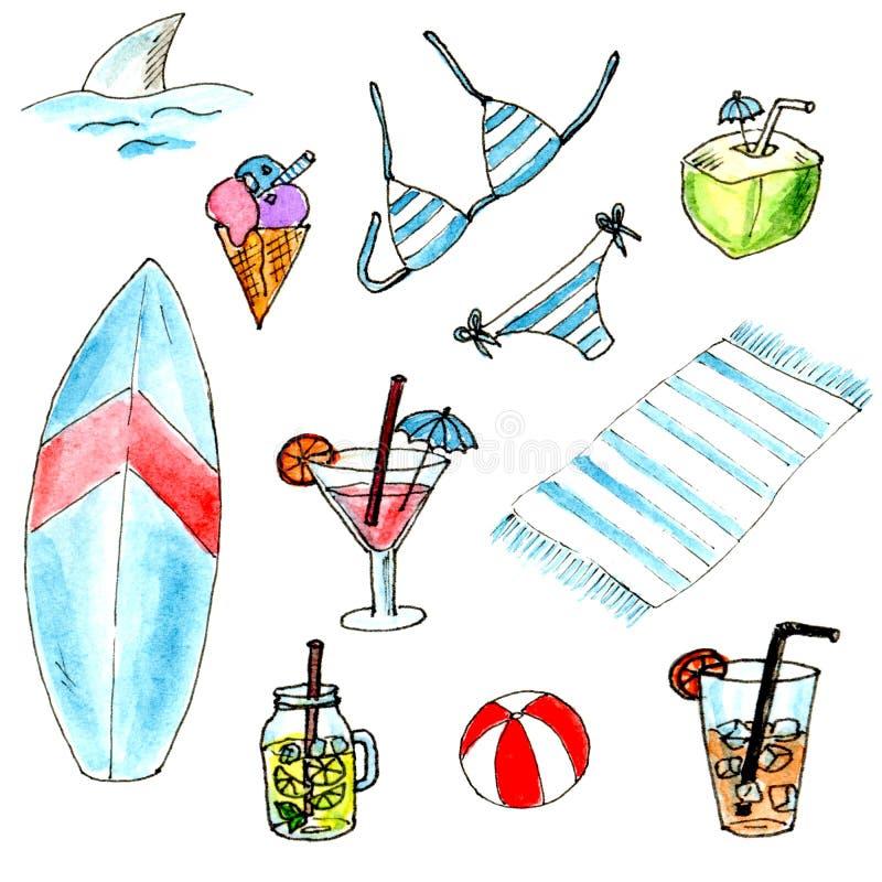 水彩夏天海滩集合 被隔绝的设计元素 皇族释放例证