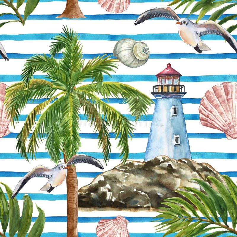 水彩夏天镶边了无缝的样式,船舶样式 灯塔,海滨,棕榈树,海鸥,壳,热带叶子 皇族释放例证