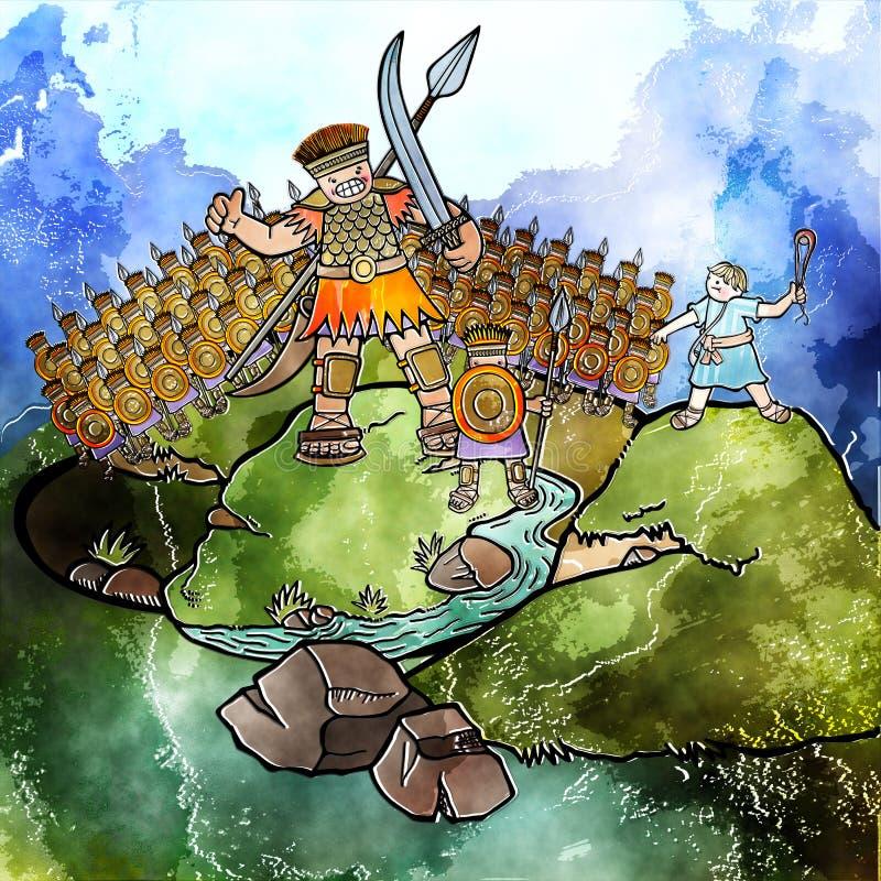 水彩大卫和巨人 皇族释放例证