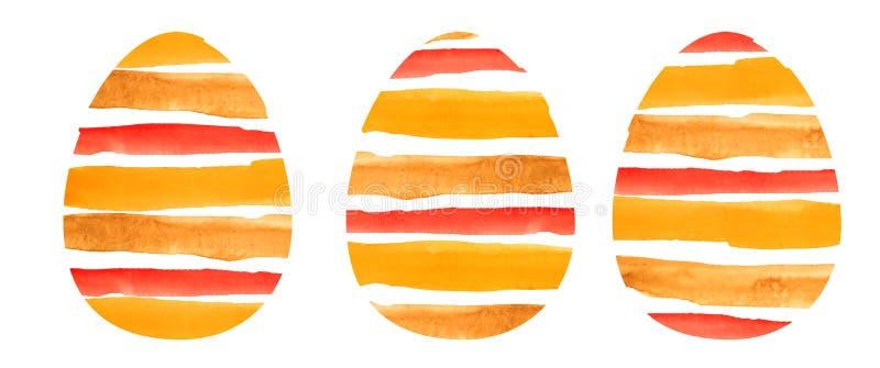 水彩套三个橙色织地不很细鸡蛋 向量例证