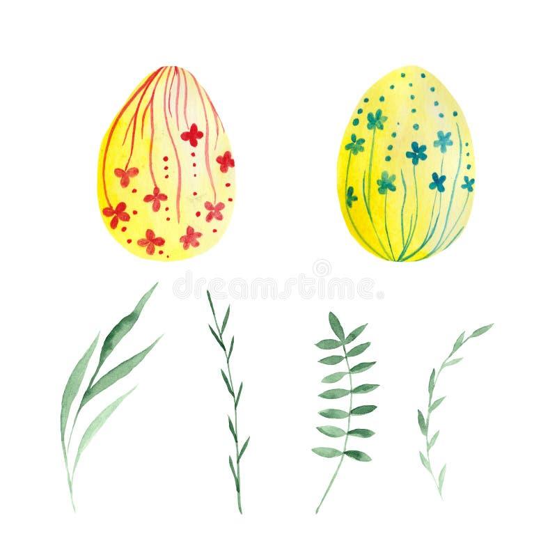 水彩套复活节彩蛋和枝杈 向量例证