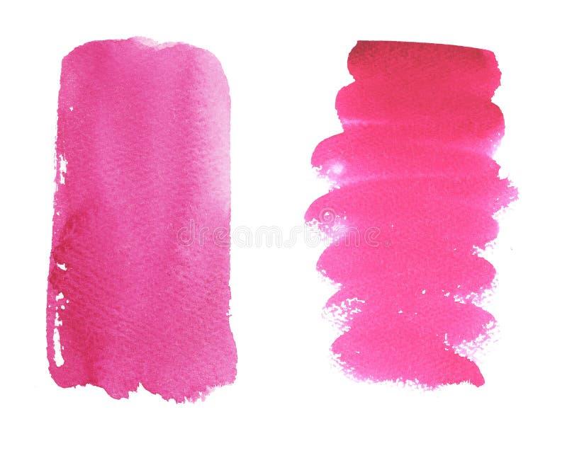 水彩套明亮的桃红色刷子冲程 库存例证