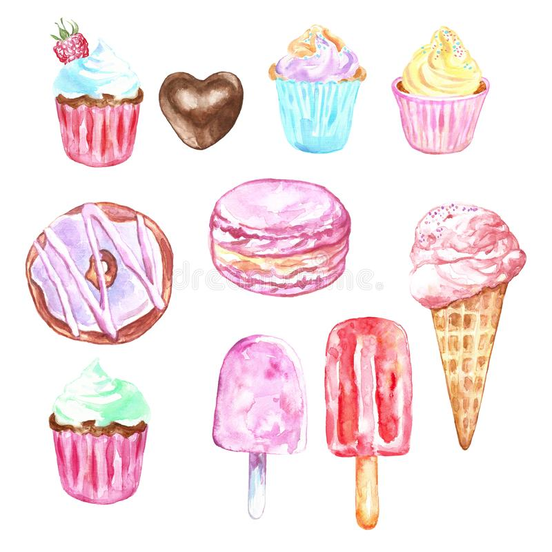 水彩套甜点和点心-在锥体的冰淇淋,杯形蛋糕,油炸圈饼,在淡色的macarons,被隔绝 库存例证