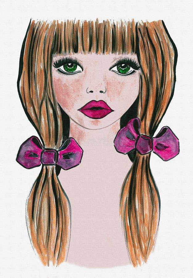 水彩女孩图片,T恤杉印刷品 库存例证