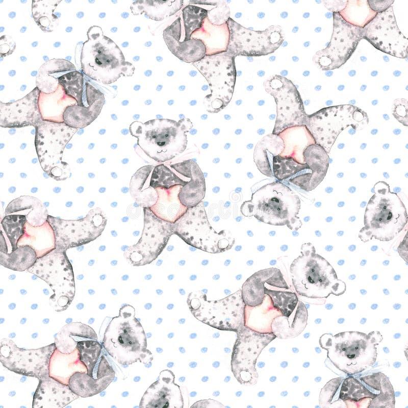 水彩女用连杉衬裤涉及被加点的蓝色背景 婴孩织品的手画无缝的样式 库存例证