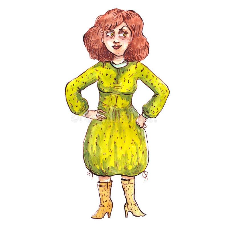 水彩妇女以绿色 库存例证