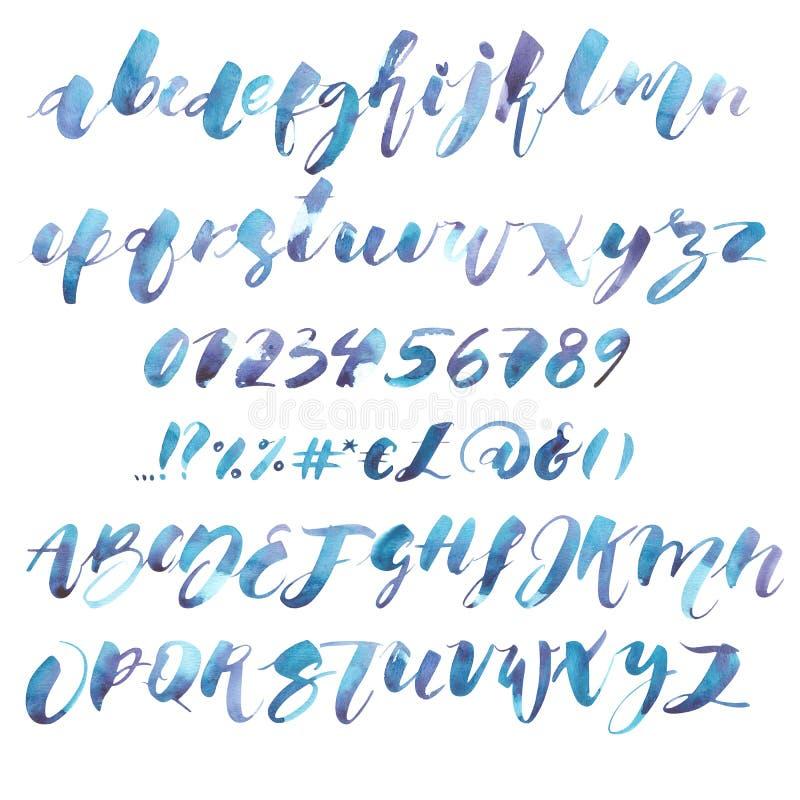 水彩字母表 专属习惯字符 手字法和印刷艺术设计的:商标,海报的 向量例证