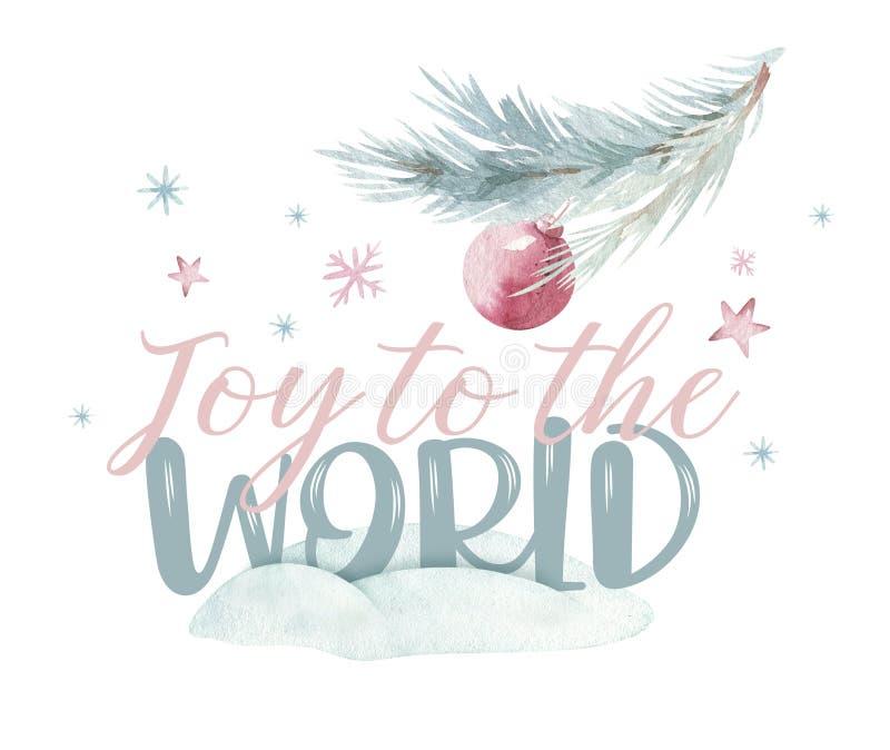 水彩对世界例证的圣诞节喜悦 圣诞节铃声和快活的chistmas引述,设计的模板  皇族释放例证